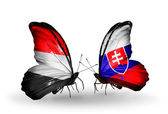 Butterflies with Yemen and Slovakia flags on wings — 图库照片
