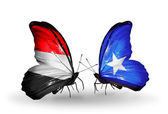 Butterflies with Yemen and Somalia flags on wings — 图库照片