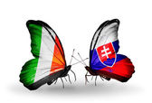 Butterflies with  Ireland and  Slovakia flags on wings — 图库照片