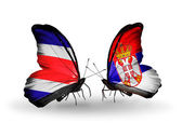 Butterflies with Costa Rica and  Serbia flags on wings — ストック写真