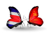 Butterflies with Costa Rica and  Soviet Union flags on wings — Stock Photo