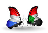Butterflies with Luxembourg and  Sudan flags on wings — 图库照片