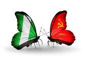 蝶翼にナイジェリアそしてソビエト連邦の旗 — ストック写真