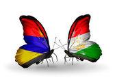 Motyle z armenii i tadżykistan flagi na skrzydłach — Zdjęcie stockowe