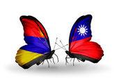 Butterflies with Armenia and  Taiwan flags on wings — Zdjęcie stockowe