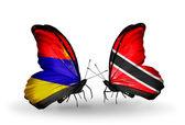 Motyle z armenii, trynidad i tobago flagi na skrzydłach — Zdjęcie stockowe