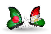 Butterflies with Bangladesh and Tajikistan flags on wings — Stock Photo