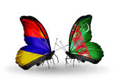 Butterflies with Armenia and  Turkmenistan flags on wings — Stock Photo