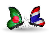 Butterflies with Bangladesh and Thailand flags on wings — Stock Photo