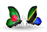 Butterflies with Bangladesh and Tanzania flags on wings — Zdjęcie stockowe