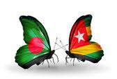 Motyle z bangladeszu i togo flagi na skrzydłach — Zdjęcie stockowe