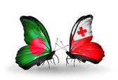 Butterflies with Bangladesh and Tonga flags on wings — Zdjęcie stockowe