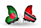 Butterflies with Bangladesh and Trinidad and Tobago flags on wings — Zdjęcie stockowe
