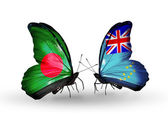 Butterflies with Bangladesh and Tuvalu flags on wings — Zdjęcie stockowe