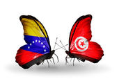Butterflies with Venezuela and Tunisia flags on wings — Stock Photo