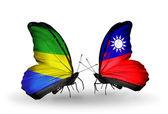 Motyle z gabonu i tajwan flagi na skrzydłach — Zdjęcie stockowe