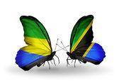 Motyle z gabonu i tanzanii flagi na skrzydłach — Zdjęcie stockowe