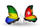 Butterflies with Gabon and Togo flags on wings — Zdjęcie stockowe
