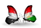 Motyle z jemenu i tadżykistan flagi na skrzydłach — Zdjęcie stockowe
