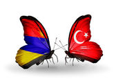 Butterflies with Armenia and  Turkey flags on wings — Stock Photo