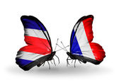 Butterflies with Costa Rica and  France flags on wings — Stok fotoğraf