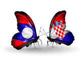 Kelebek kanatları üzerinde laos ve hırvatistan bayraklı — Stok fotoğraf