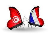 Kelebek kanatları üzerinde tunus ve fransa bayraklı — Stok fotoğraf