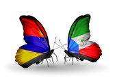 Butterflies with Armenia and  Equatorial Guinea flags on wings — Stok fotoğraf