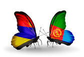 Butterflies with Armenia and  Eritrea flags on wings — Stock Photo
