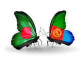 Butterflies with Bangladesh and Eritrea flags on wings — Stock Photo