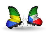 Kelebek kanatları üzerinde gabon ve ekvator ginesi bayraklı — Stok fotoğraf