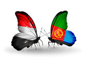 Butterflies with Yemen and Eritrea flags on wings — Stock Photo