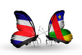 Kelebekler kanat kosta rika ve orta afrika cumhuriyeti bayrakları ile — Stok fotoğraf