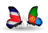 Butterflies with Costa Rica and Eritrea flags on wings — Stock Photo