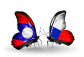 Butterflies with Laos and Czech flags on wings — Stok fotoğraf