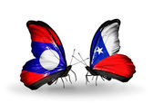 Butterflies with Laos and Chile flags on wings — Stok fotoğraf