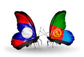 Butterflies with Laos and  Eritrea flags on wings — Stock Photo
