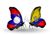 Butterflies with Laos and Ecuador flags on wings — Stok fotoğraf