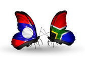 Butterflies with Laos and South Africa flags on wings — Stok fotoğraf