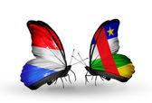 Kelebekler kanat lüksemburg ve orta afrika cumhuriyeti bayrakları ile — Stok fotoğraf