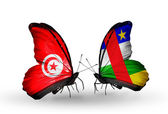 Butterflies with Tunisia  and Central African Republic flags on wings — Stock Photo