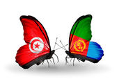 Butterflies with Tunisia  and Eritrea flags on wings — Stock Photo