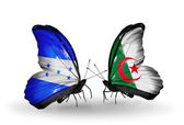 Butterflies with Honduras and Algeria flags on wings — Stock Photo