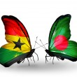 Постер, плакат: Butterflies with Ghana and Bangladesh flags on wings