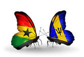 Butterflies with Ghana and Barbados flags on wings — Stock Photo