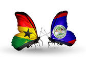 Butterflies with Ghana and Belize flags on wings — Stock Photo