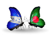 Butterflies with Honduras and Bangladesh flags on wings — Stock Photo