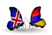 Butterflies with India and Armenia flags on wings — Stock Photo