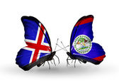 Butterflies with India and Belize flags on wings — Stock Photo