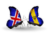 Butterflies with India and Barbados flags on wings — Foto de Stock